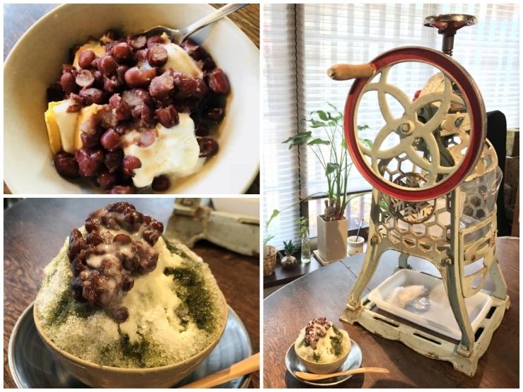 レトロなかき氷機がかわいい! 能登大納言小豆を使ったクリームぜんざい・宇治抹茶かき氷 [和かふぇ ぎゃるり安穏]