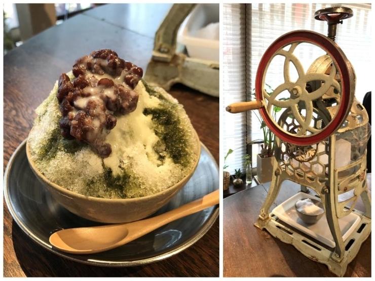 レトロなかき氷機がかわいい! 塩気多めの小豆と宇治抹茶が相性抜群のかき氷 [和かふぇ ぎゃるり安穏]